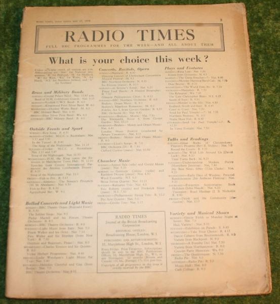 radio times may 1938